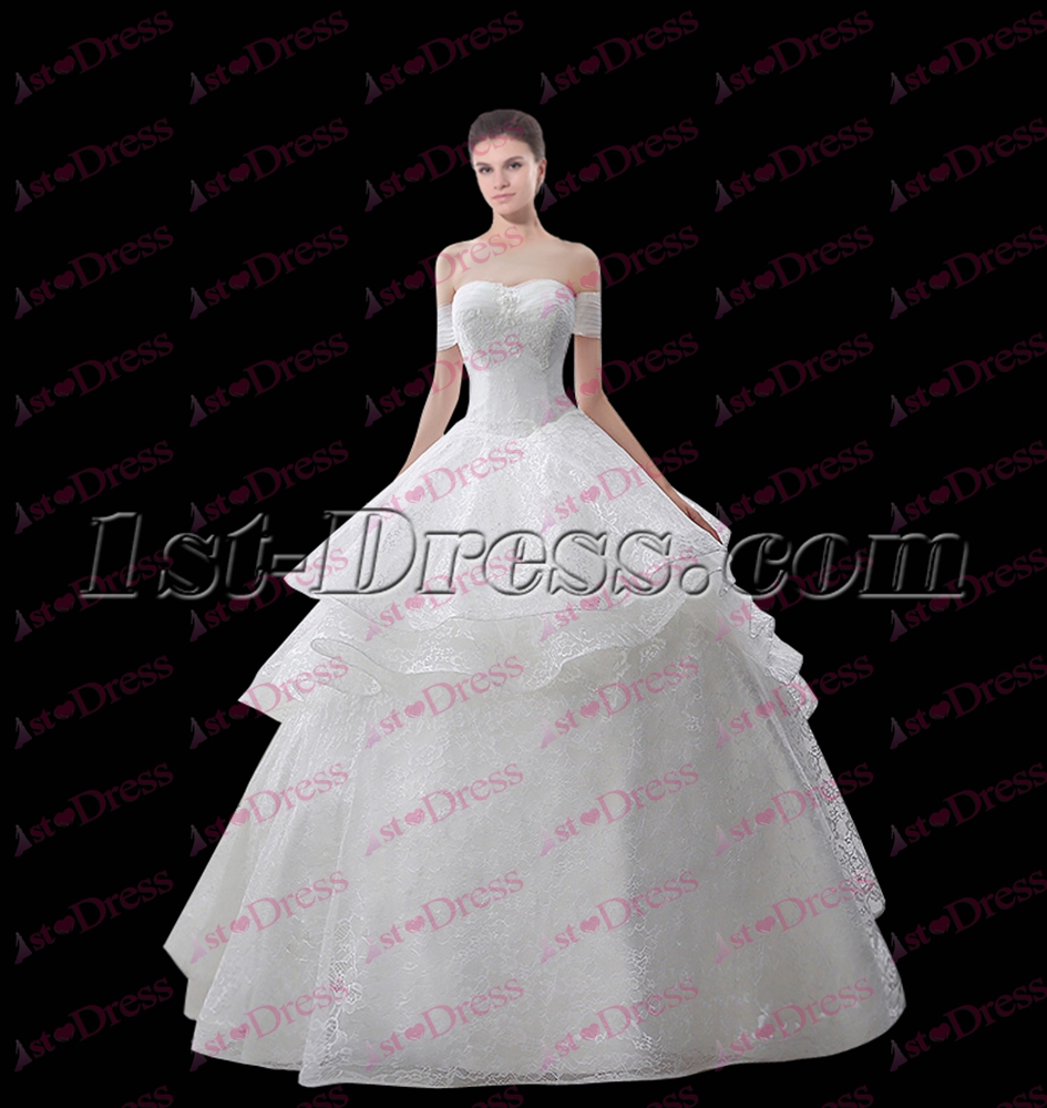 Simple White Off Shoulder Ball Gown Party Dress:1st-dress.com