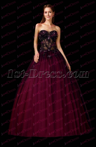 Black Full Length Sexy 2017 Quinceanera Dress