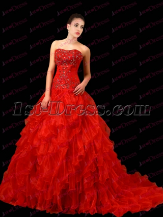 Pretty Red Ruffles 2017 Bridal Gown