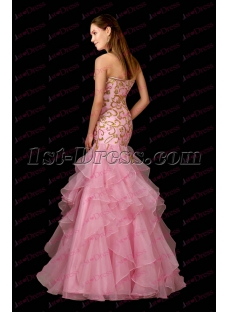 Luxurious Ruffles Pink Mermaid Formal Evening Dress