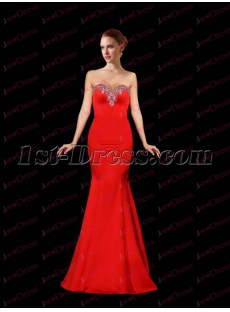 Pretty Sheath Red Satin Prom Dress 2017