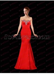 Pretty Sheath Red Satin Prom Dress 2017
