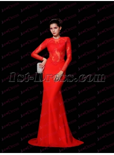 Sexy Red Long Sleeves Lace Celebrity Dress