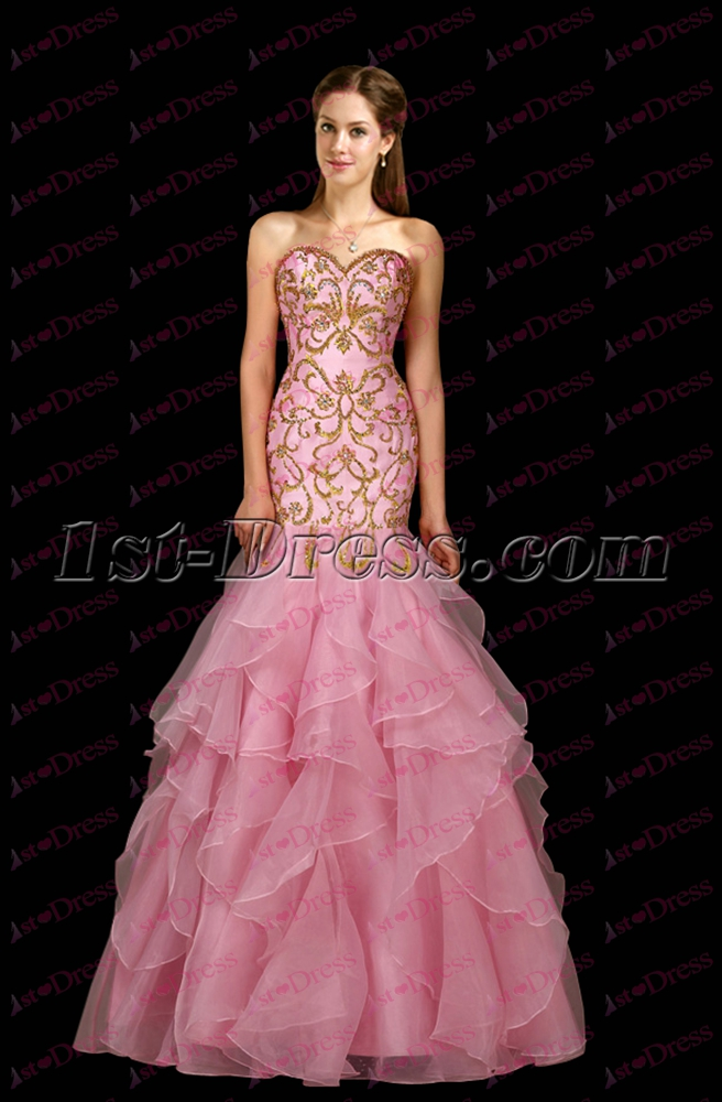 Luxurious Ruffles Pink Mermaid Formal Evening Dress:1st-dress.com