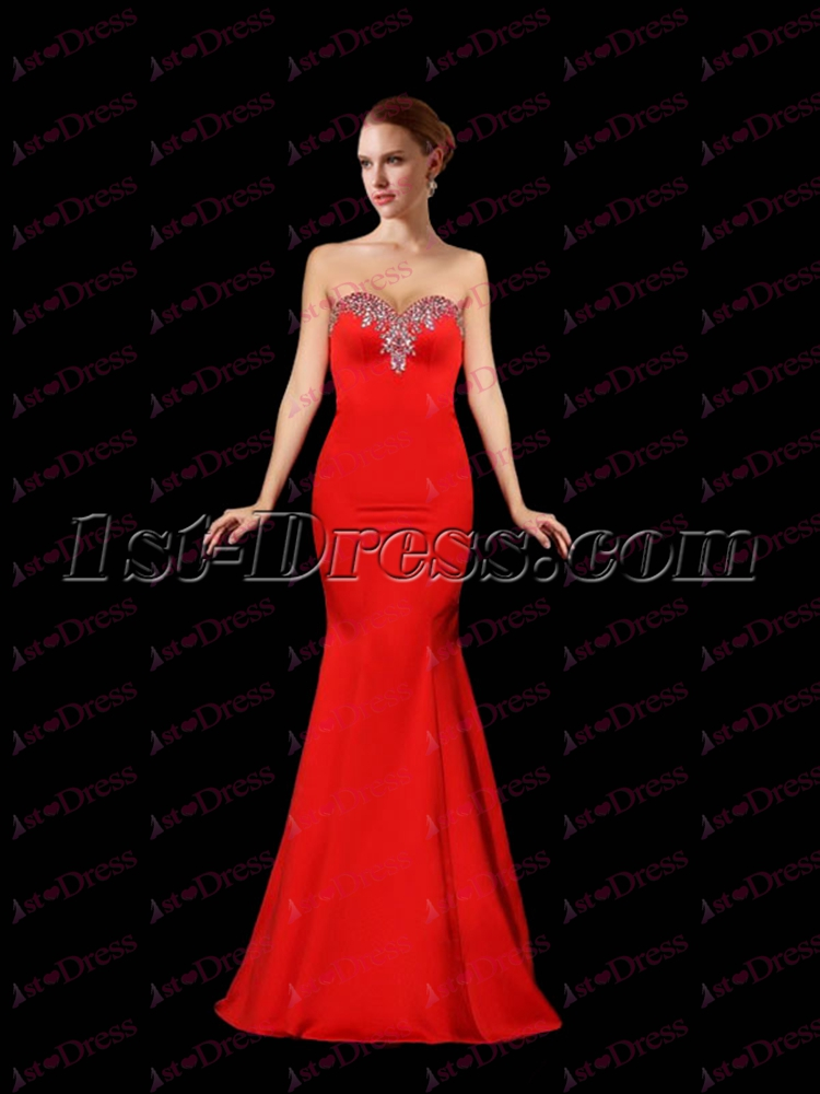 4333ccb59f23 Pretty Sheath Red Satin Prom Dress 2017:1st-dress.com