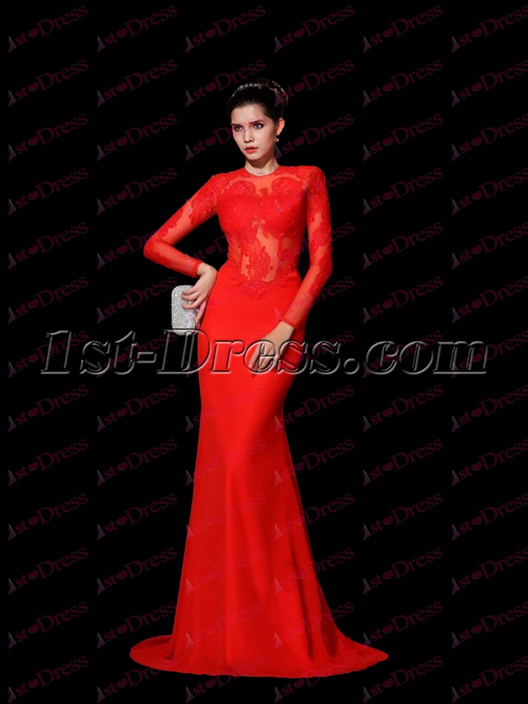 84538cf7b6 Sexy Red Long Sleeves Lace Celebrity Dress  193.00