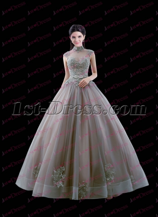 Vintage Gray High Neckline 2017 Quinceanera Ball Dress with Keyhole
