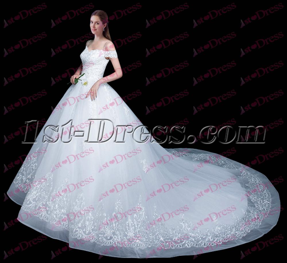 Beautiful Off Shoulder Ball Gown Wedding Dress 2017:1st-dress.com