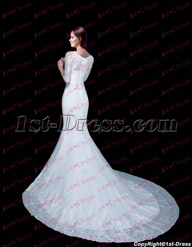 Modest Mermaid Lace Wedding Dress with Middle Sleeves 1st-dress.com 91f9e8247