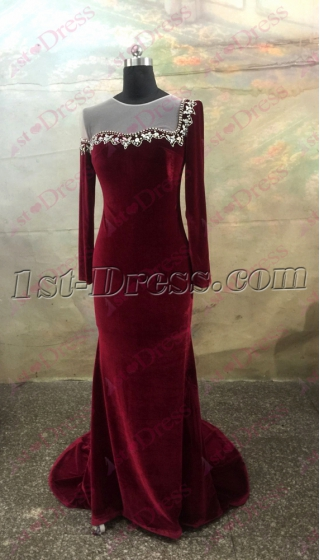Pretty Burgundy Long Sleeves Illusion Neckline Velvet Evening Dress