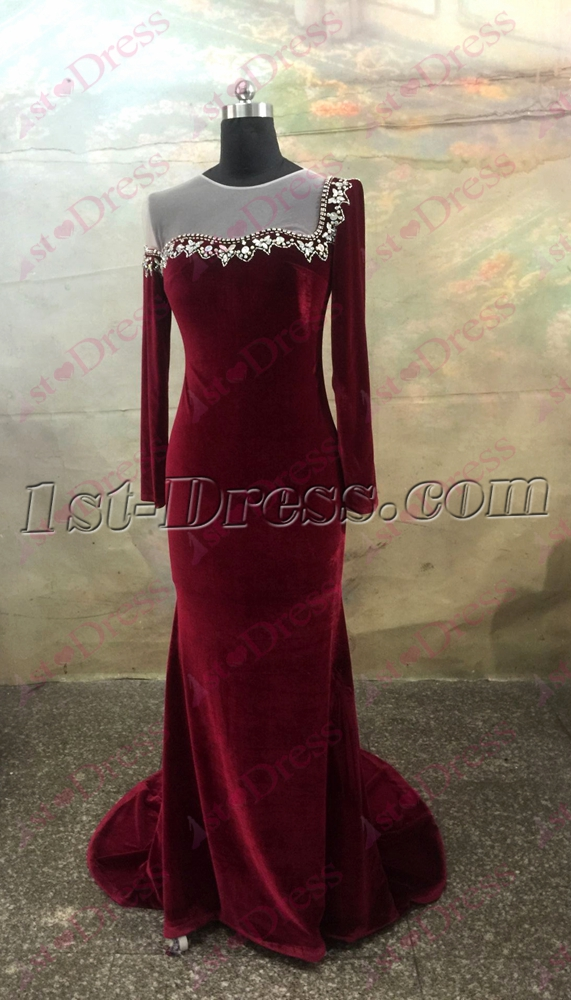 Pretty Burgundy Long Sleeves Illusion Neckline Velvet Evening Dress