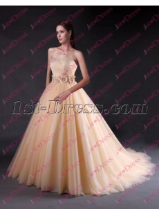Romantic Sweetheart Champagne Ball Gown Wedding Dress