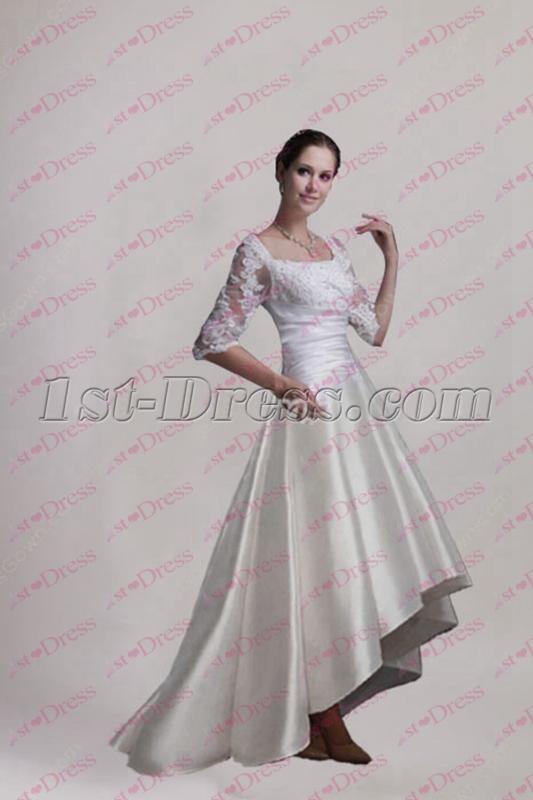 Modest Middle Sleeves Beach Wedding Dress 2018:1st-dress.com