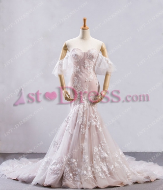Charming Champagne Sheath Lace Bridal Gown 2018