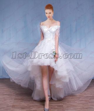 2018 Fairy High Low Summer Wedding Dress for Beach