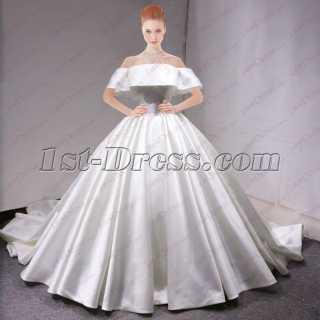 Simple 2018 Wedding Bridal Ball Gown with Off Shoulder