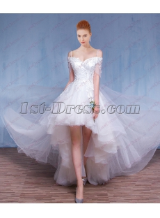 2018 Fairy High Low Summer Wedding Dress for Beach