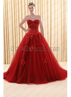 2018 New Style Sweetheart Burgundy Plus Size Bridal Gown Wedding Dress