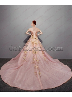 2018 Romantic Pink Off Shoulder Ball Gown Wedding Dress with Bling