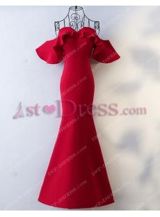 Elegant Wine Red Off Shoulder Sheath Formal Evening Dress