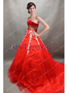 Red Sweetheart Princess Quince Gown 2018