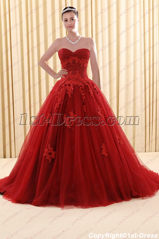 2018 New Style Sweetheart Burgundy Plus Size Bridal Gown ...
