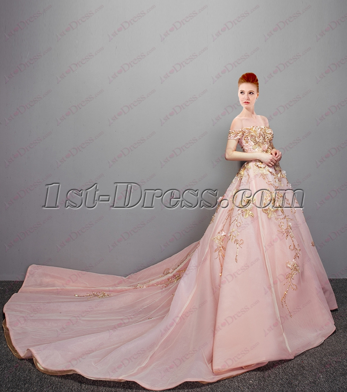 2018 Romantic Pink Off Shoulder Ball Gown Wedding Dress with Bling ...