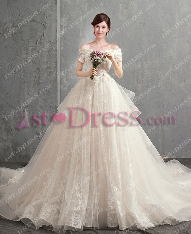 Best Gorgeous Off Shoulder Ball Gown Bridal Gown 2018 1st-dress.com 366630a6c97e