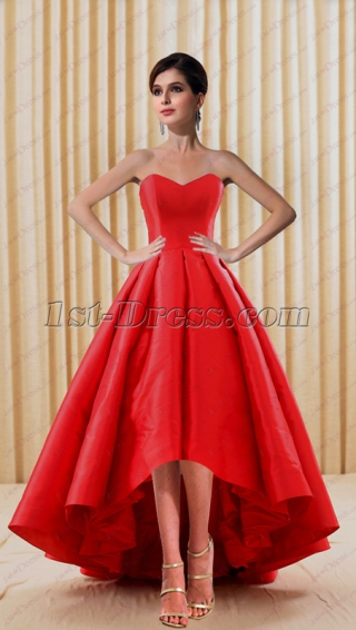 2018 Simple Red Short Bridal Gown with High Low Hem