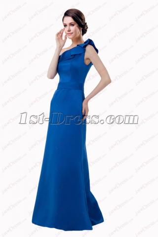 Elegant Royal Blue Long One Shoulder Bridesmaid Gown 2018