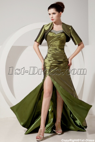 Olive Green Military Slit Evening Dress