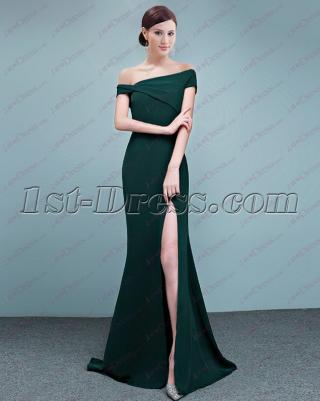 Trumpet Off Shoulder Satin 2018 Prom Dress with Slit