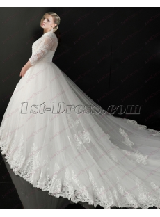 2018 New Plus Size Vintage Lace Wedding Dresses with Sleeves