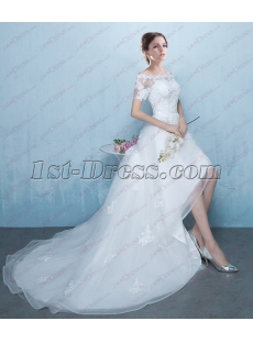 2018 Off Shoulder High Low Short Sleeve Summer Wedding Dress