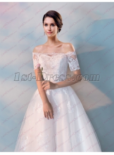 2018 Tea Length Lace Bridal Gown with Short Sleeves