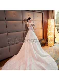 Classical 2018 High Neckline Lace Bridal Gown with 3/4 Sleeves