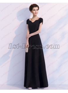 Elegant Black Long 2018 Bridesmaid Dress with Cap Sleeves
