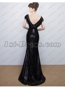 Elegant Black Sequins Open Back Celebrity Gown 2018