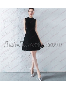 Elegant Black Velvet High Neckline Little Black Dress 2018