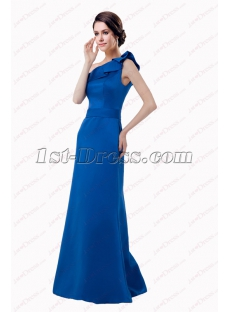 Elegant Royal Blue Long One Shoulder Bridesmaid Gown 2018