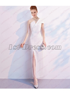 Exquisite White Ankle Length One Shoulder Evening Dress 2018