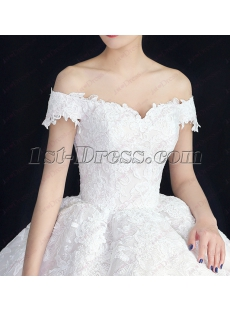 Luxury Off Shoulder Lace Ball Gown Wedding Dresses 2018