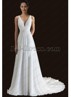 Plunge V-neckline Beach Wedding Dress 2018