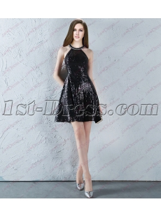 Romantic Black Sequins Short Sweet 16 Dress 2018