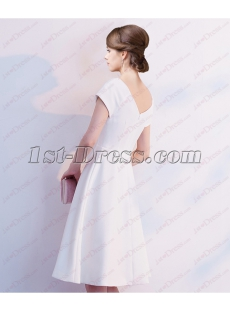 Simple White Short Prom Dress 2018 with Short Sleeves