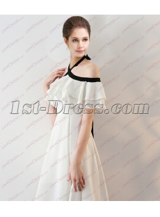 Sweet Black and White Off Shoulder Long Graduation Dress 2018
