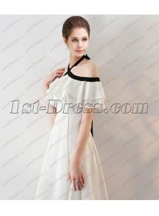 Sweet Black and White Off Shoulder Long Graduation Dress 2018