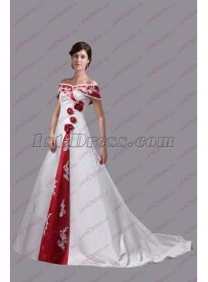 Traditional White and Burgundy Trim Wedding Dress