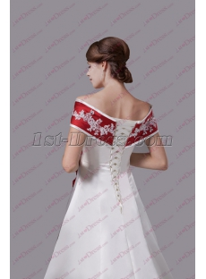 Traditional White and Burgundy Trim Wedding Dress
