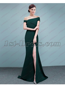 Trumpet Off Shoulder Satin 2018 Prom Dress with Slit